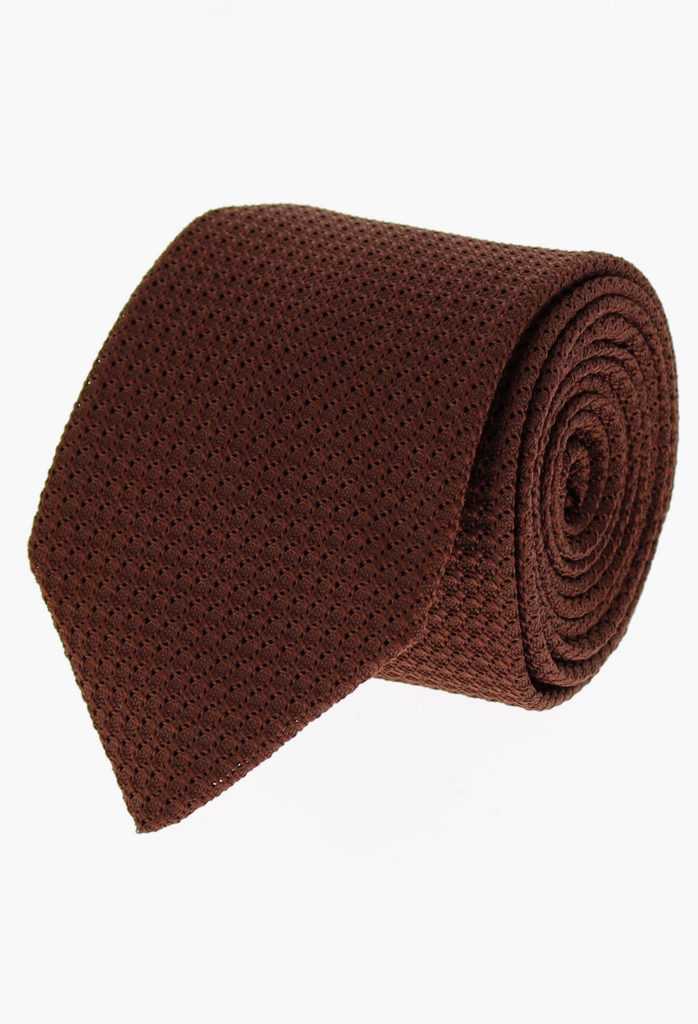 StarkandSons Tailleur Costumes Homme Paris Stark&Sons cravate grenadine soie marron chocolat